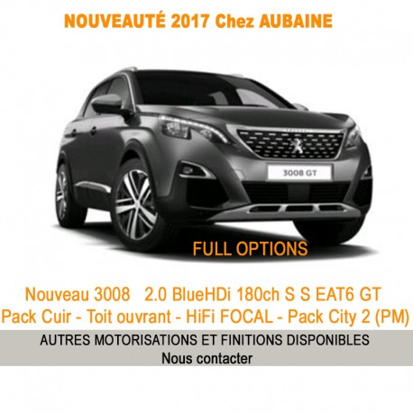P eugeot 3008 NOUVEAU 2.0 BlueHDi 180ch S S EAT6 GT Pack Cuir - Toit ouvrant - HiFi FOCAL - Pack City 2 (PM)